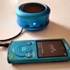 Der SONY NWZ-E464B MP3 Player und Minilautsprecher